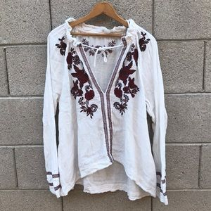 NWOT Free People Floral Embroidered Blouse